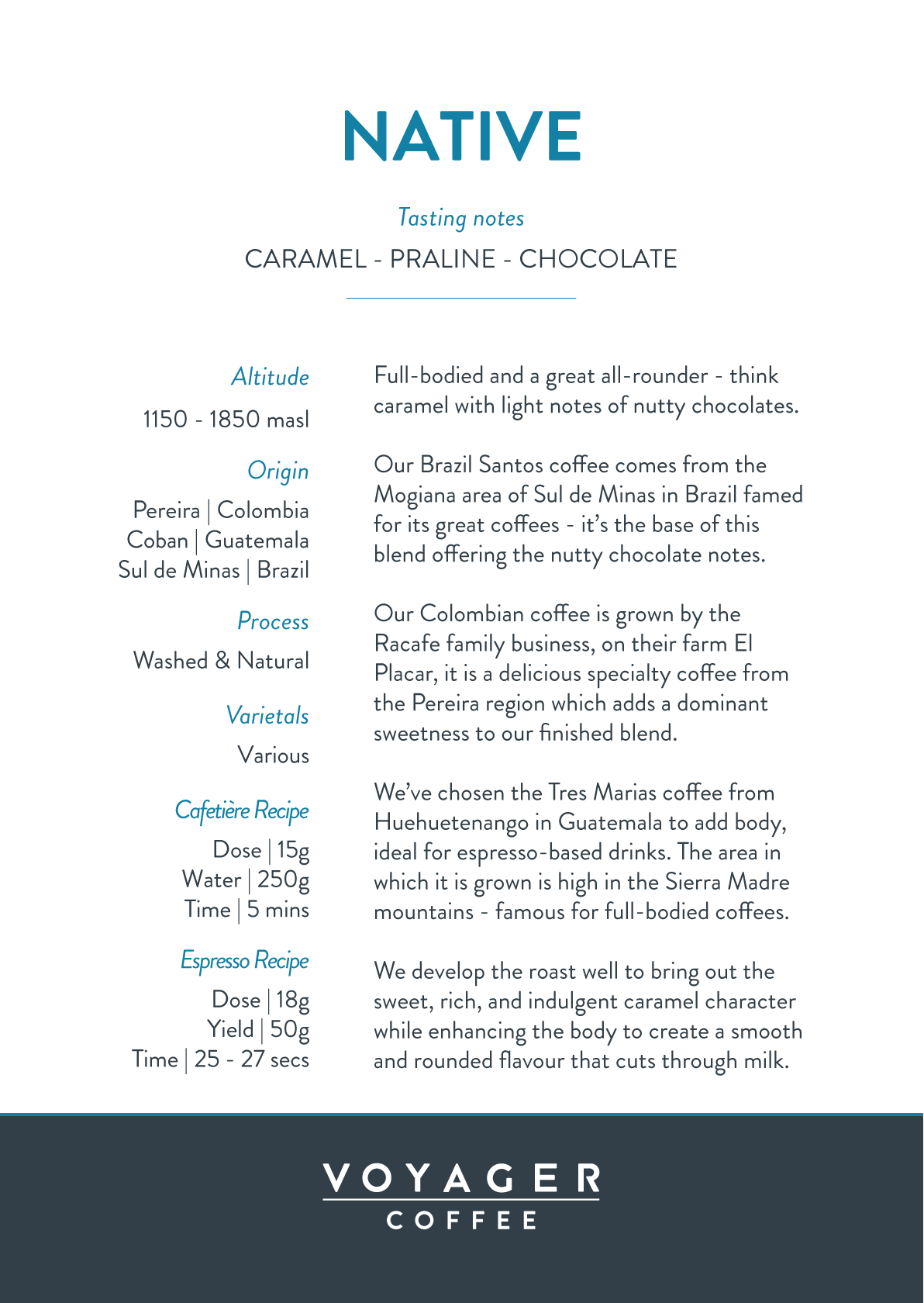 Voyager Native Coast to Coast Recipe Card